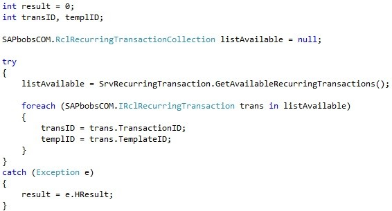"How to Use the ""RecurringTransactionService"" Object in SAP Business One SDK3"