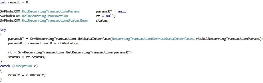 """How to Use the """"RecurringTransactionService"""" Object in SAP Business One SDK4"""
