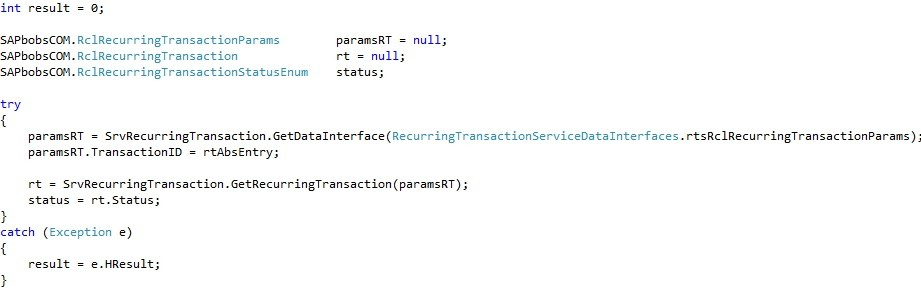 "How to Use the ""RecurringTransactionService"" Object in SAP Business One SDK4"