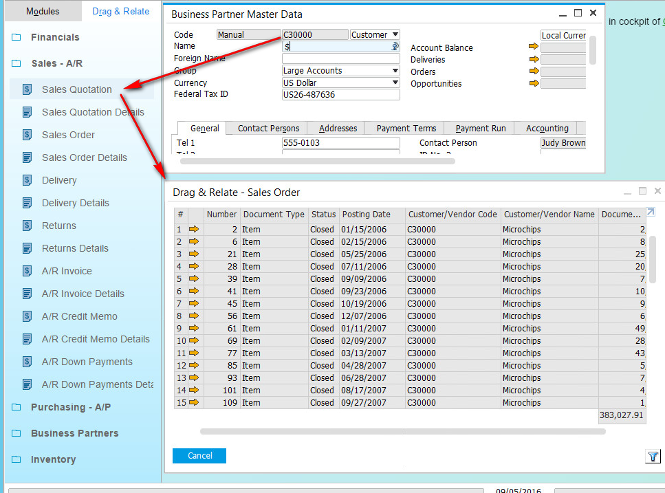 sap business one drag and relate