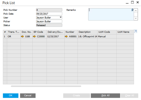 Pick-List-in-SAP-Business-One-2