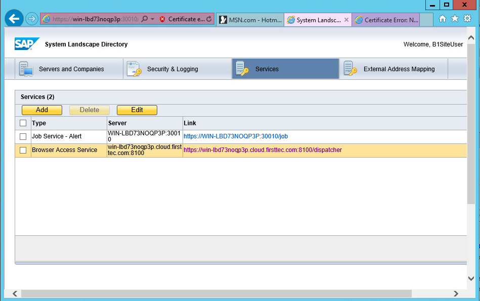 SAP Business One Browser Access Installation