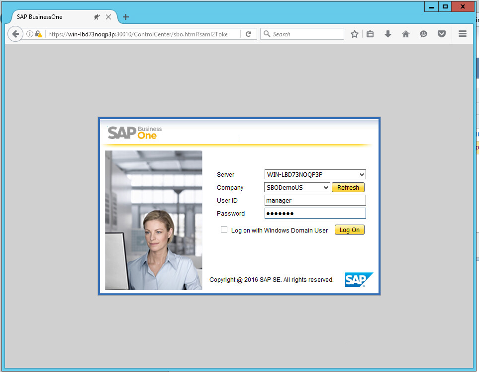 SAP Business One Browser Access login