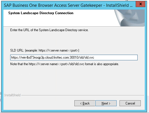 SAP Business One Browser Access select SLD URL