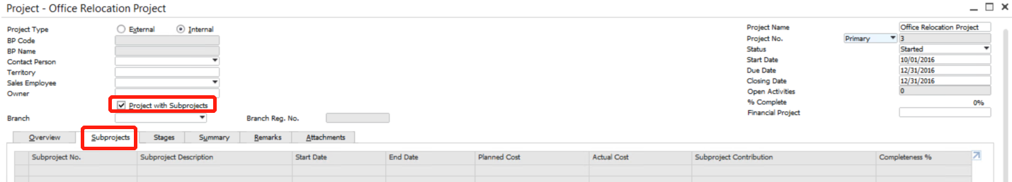 New Feature Project Management in SAP Business One 9.2-5