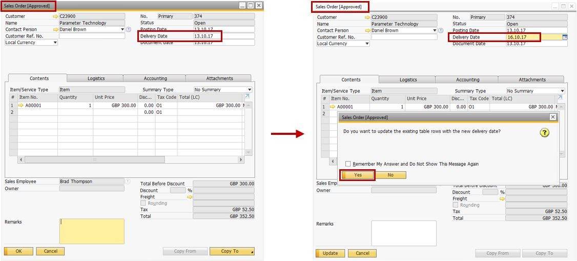 Support Spotlight Tips for Approval Process with Delivery Date Change in SAP Business One 9.31