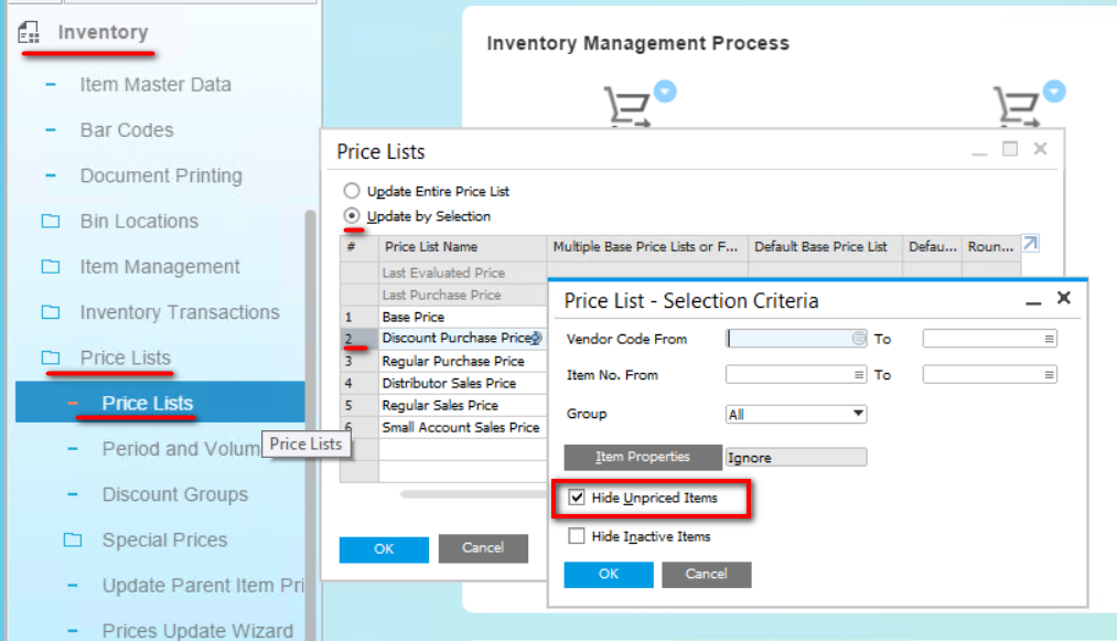 Hide Unpriced Items Selection Criteria