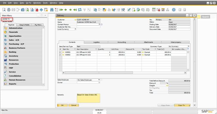 Intercompany integration solution10
