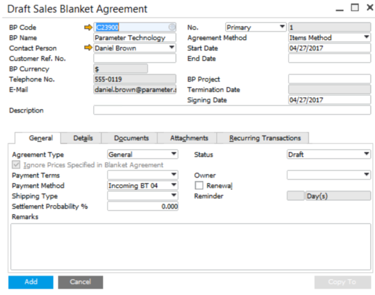 Blanket Agreement in SAP Business One