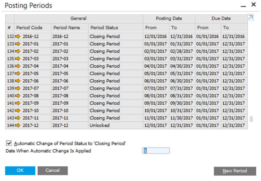 Create a New Period for the Fiscal Year in SAP Business One