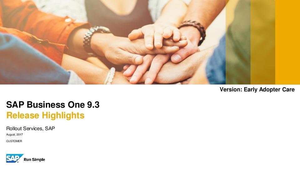 SAP Business One 9.3 Highlights