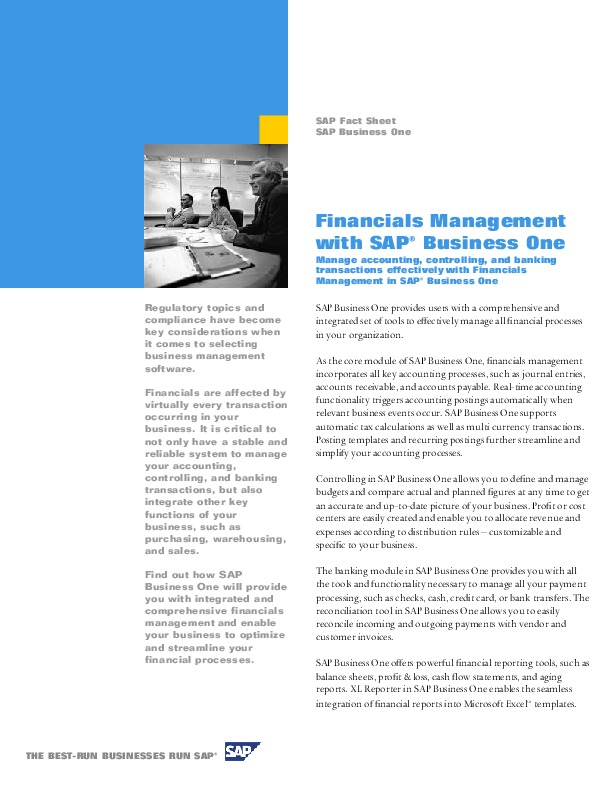 Fact sheet - SAP Business One Financials Management