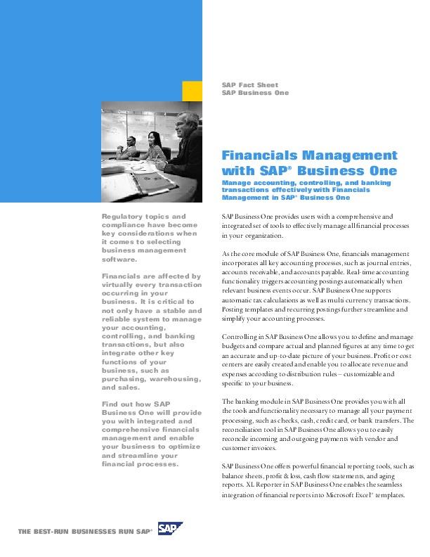 Fact sheet - SAP Business One Financials Management