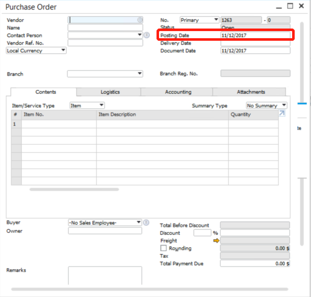 Change Posting Date in SAP Business One