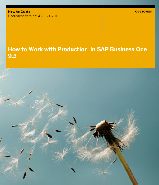 How to Work with Production in SAP Business One 9.3