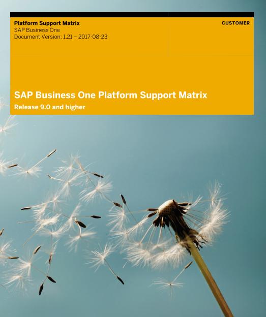 Platform Support Matrix for SAP Business One