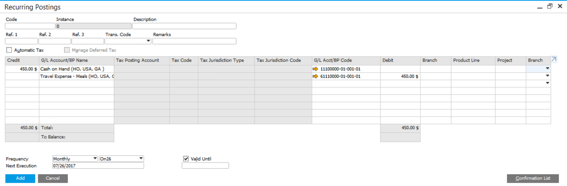 Recurring Postings in SAP Business One