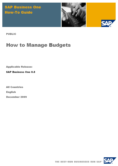 SAP Business One Manage Budgets