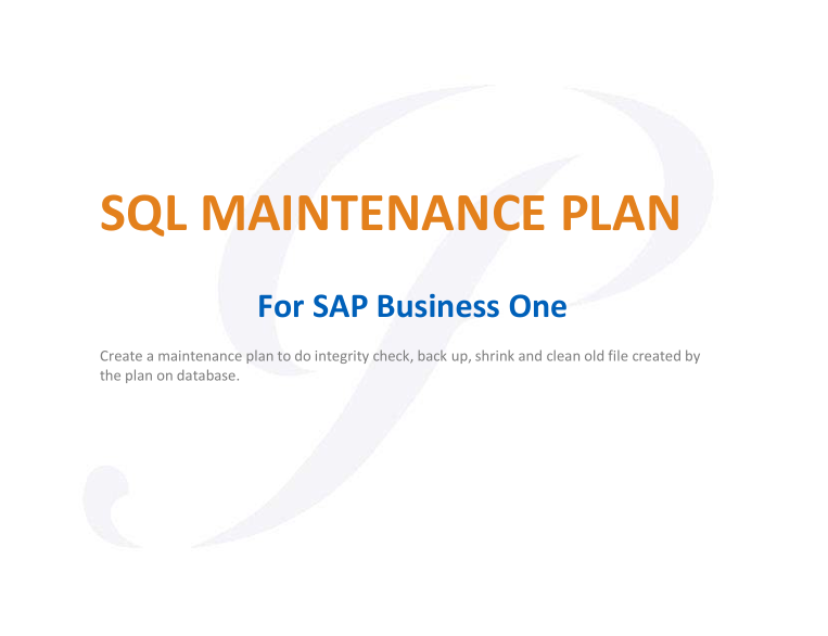 SAP Business One SQL-Maintenance Plan